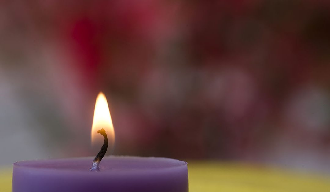 Purple candle burning